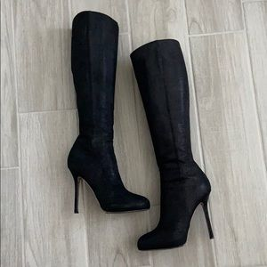 Sergio Rossi black suede leather boots 36